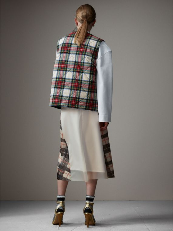 Gonna svasata in plastica con fodera in seta e motivo tartan (Nero/beige) - Donna | Burberry - cell image 2