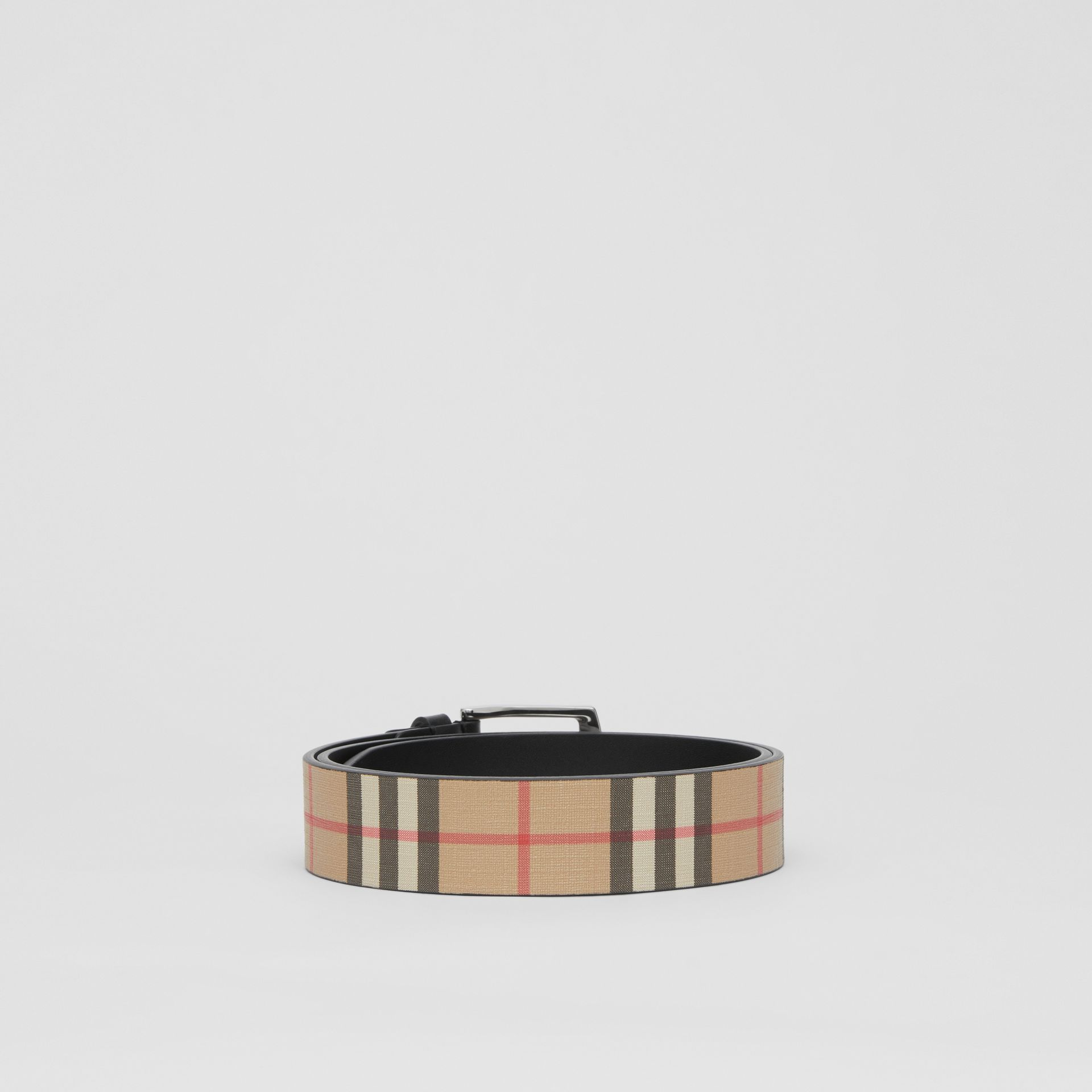 Vintage Check E-canvas and Leather Belt in Archive Beige - Men | Burberry - gallery image 4