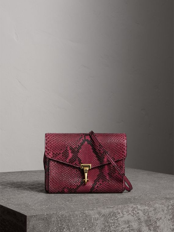 Small Python Crossbody Bag in Claret Pink