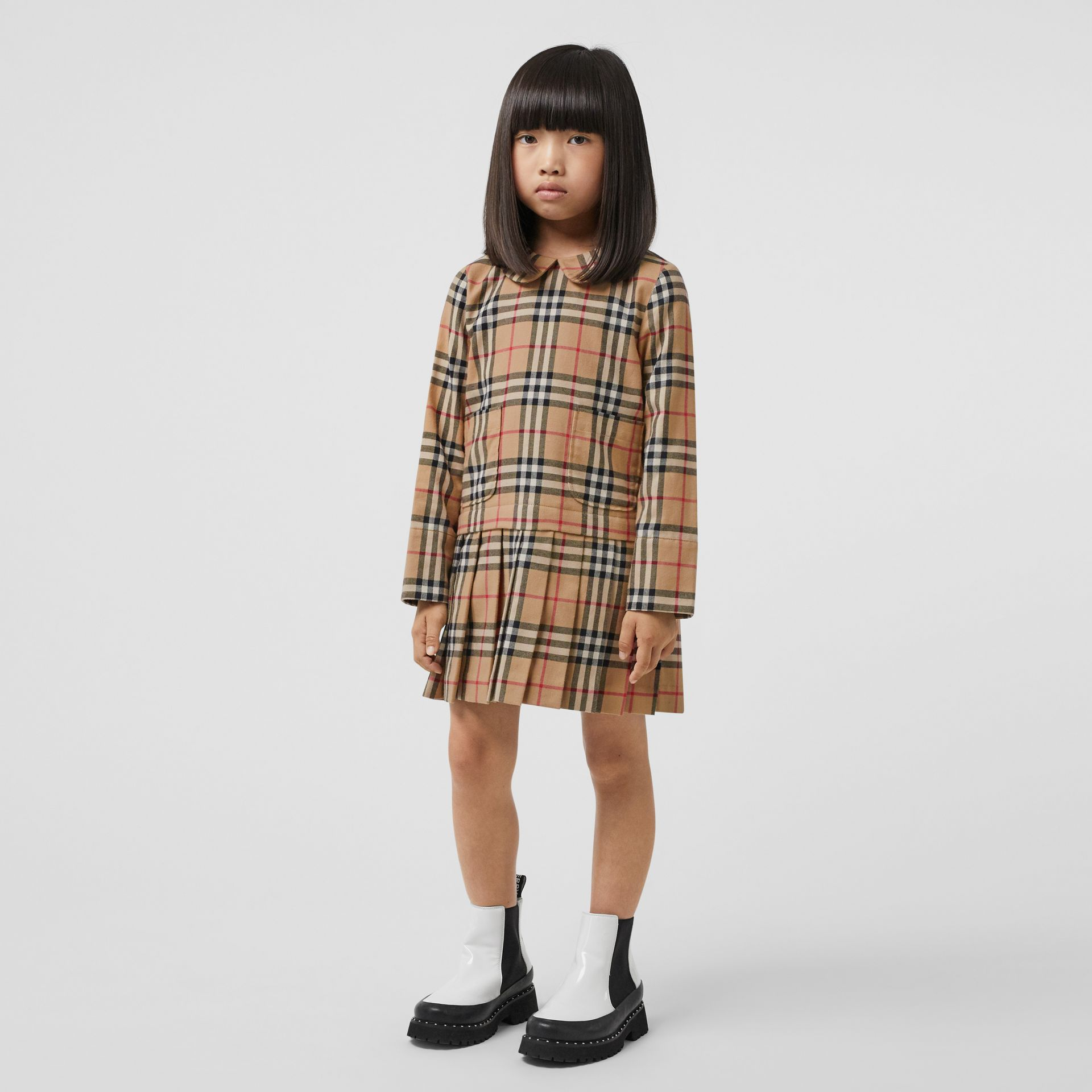 Peter Pan Collar Vintage Check Cotton Dress in Archive Beige | Burberry - gallery image 2