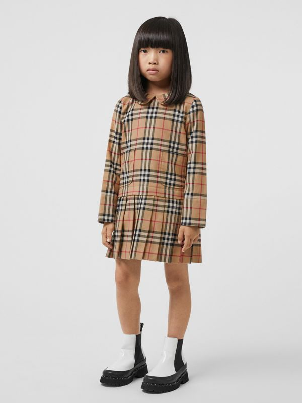 Peter Pan Collar Vintage Check Cotton Dress in Archive Beige | Burberry Singapore - cell image 2
