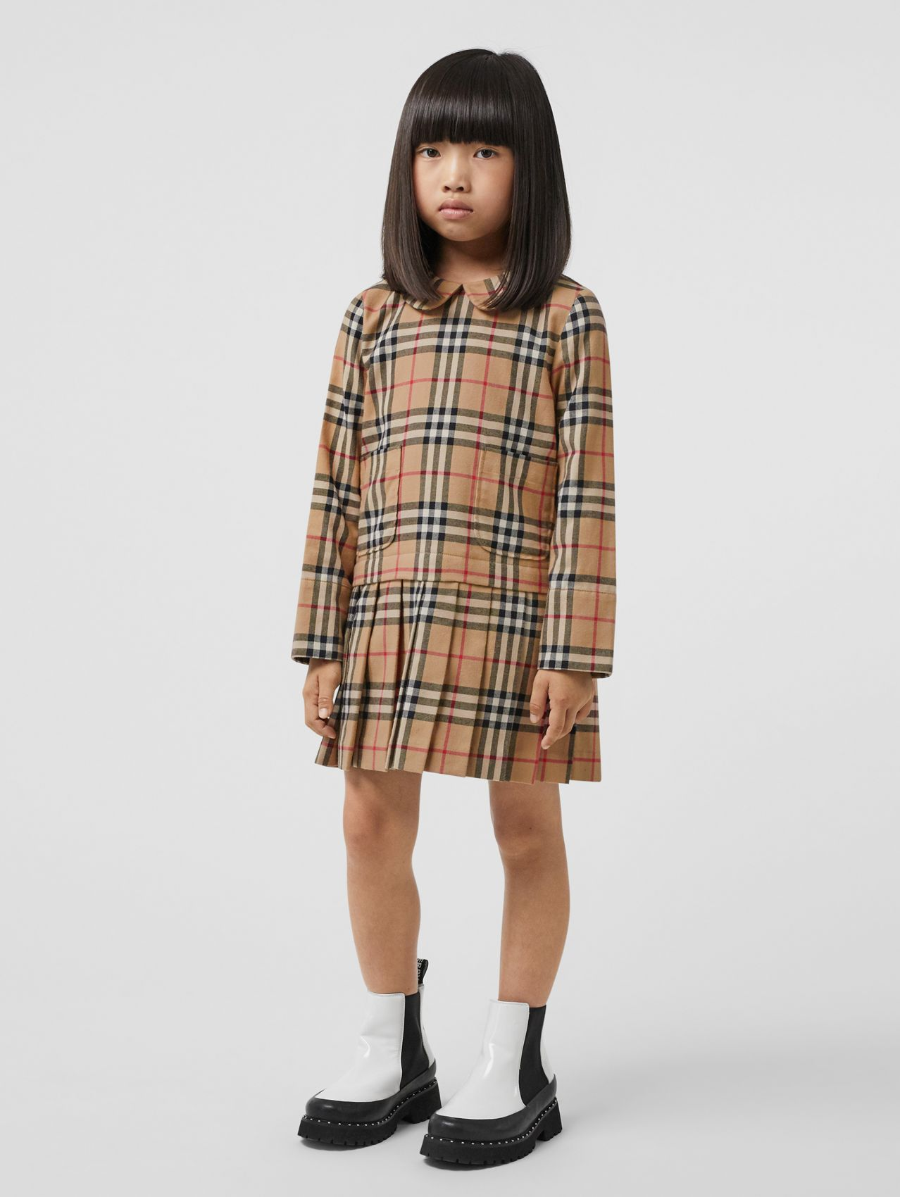 Peter Pan Collar Vintage Check Cotton Dress in Archive Beige