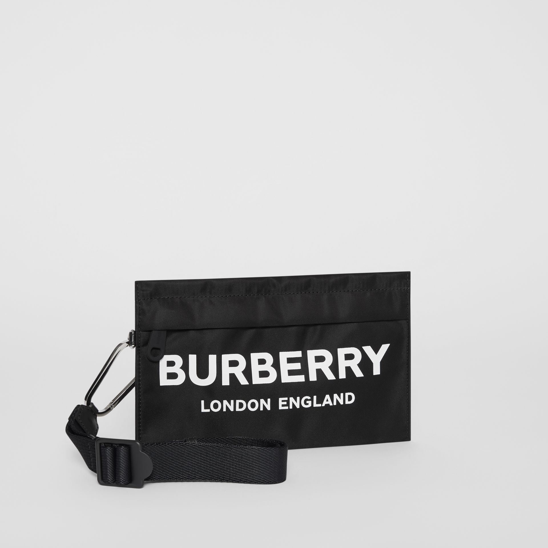 Logo Print Nylon Zip Pouch in Black - Women | Burberry United States - gallery image 5