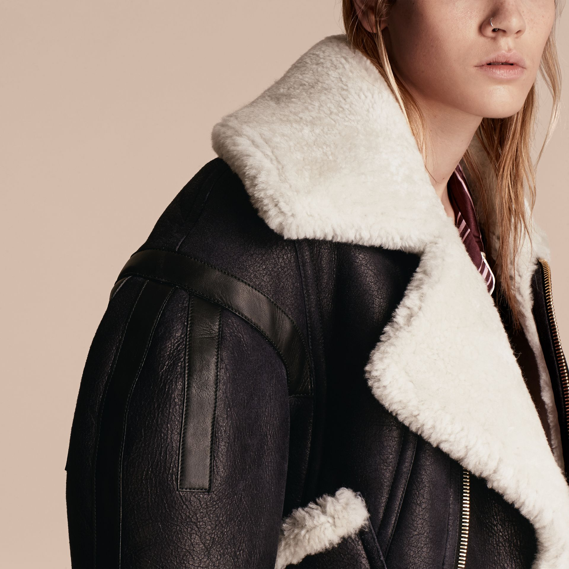 Sculptural Shearling Flight Jacket - gallery image 5