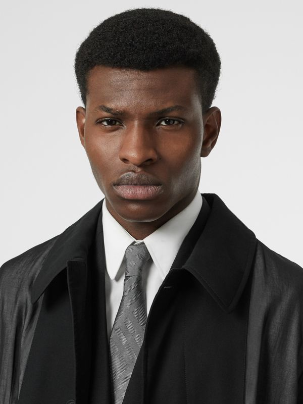 Classic Cut Check Silk Jacquard Tie in Charcoal - Men | Burberry Singapore - cell image 2