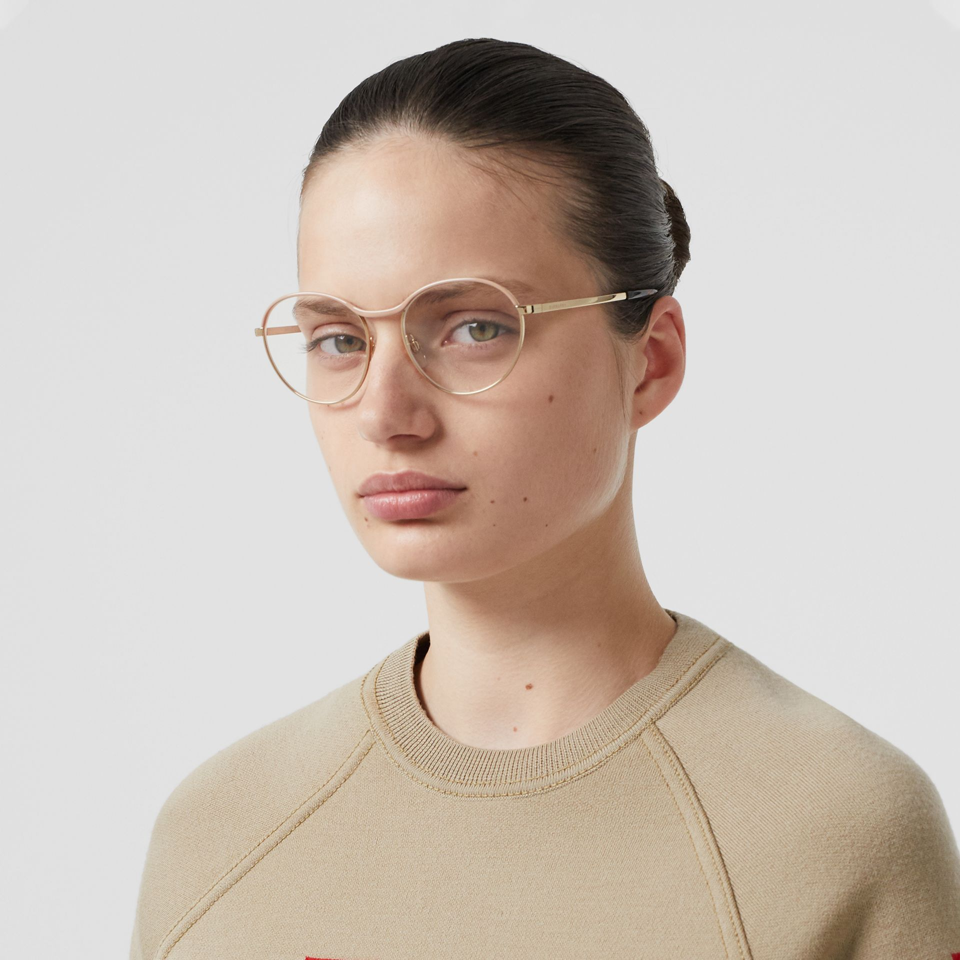 Gold-plated Round Optical Frames in Nude - Women | Burberry Canada - gallery image 2