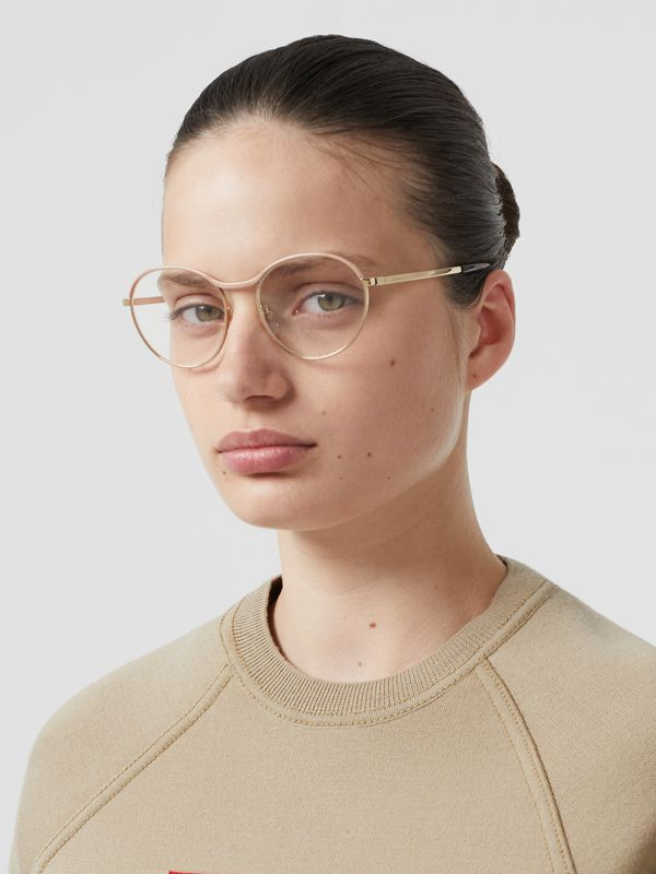 Gold-plated Round Optical Frames in Nude - Women | Burberry Canada - cell image 2