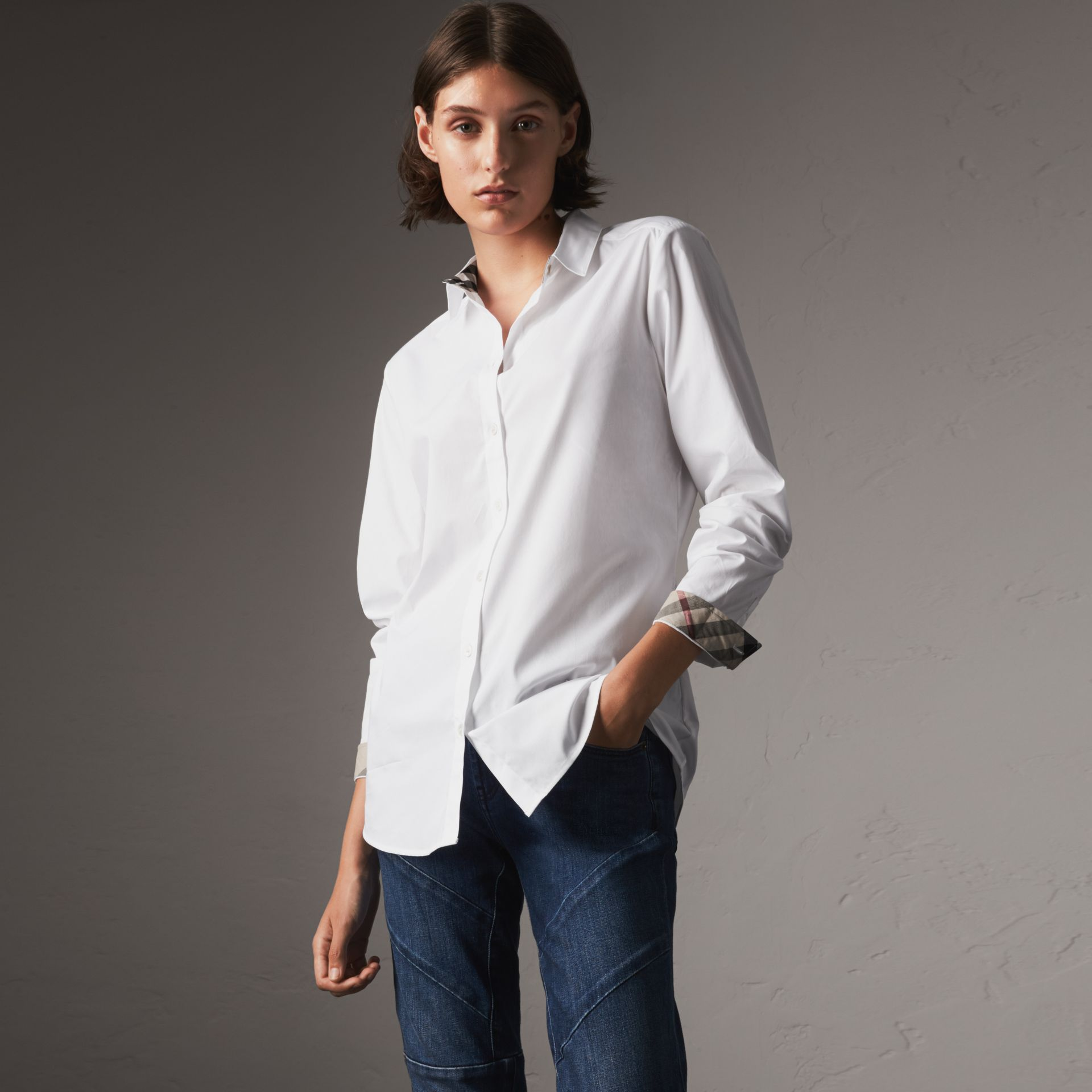 Check Detail Stretch Cotton Shirt in White - Women | Burberry - gallery image 0