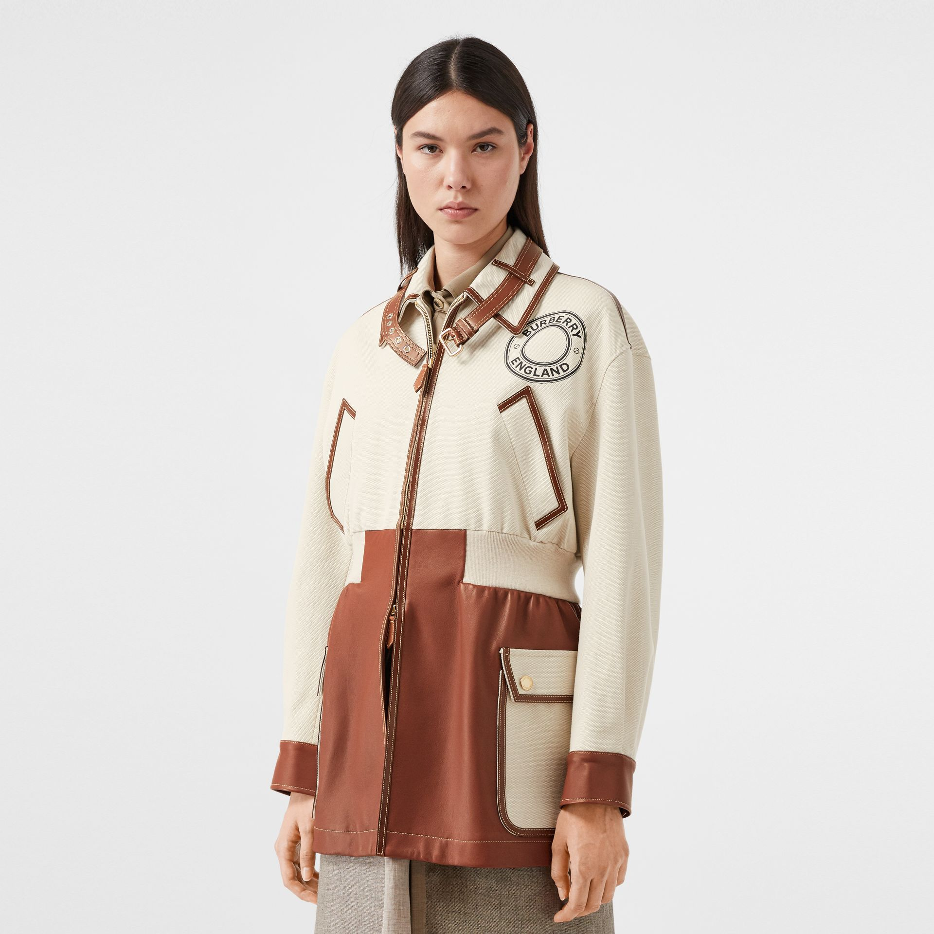 Logo Graphic Cotton and Lambskin Riding Jacket in Vanilla - Women | Burberry United Kingdom - gallery image 0