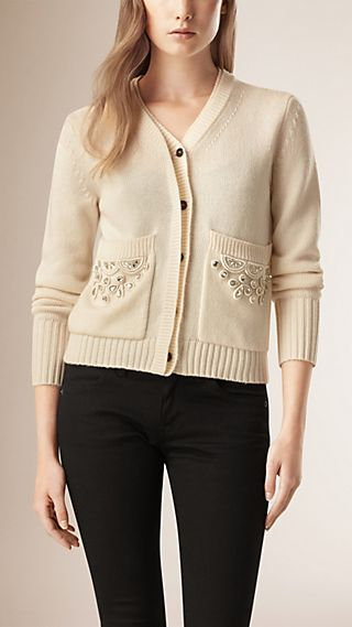 Bead Detail Wool Cashmere Cardigan