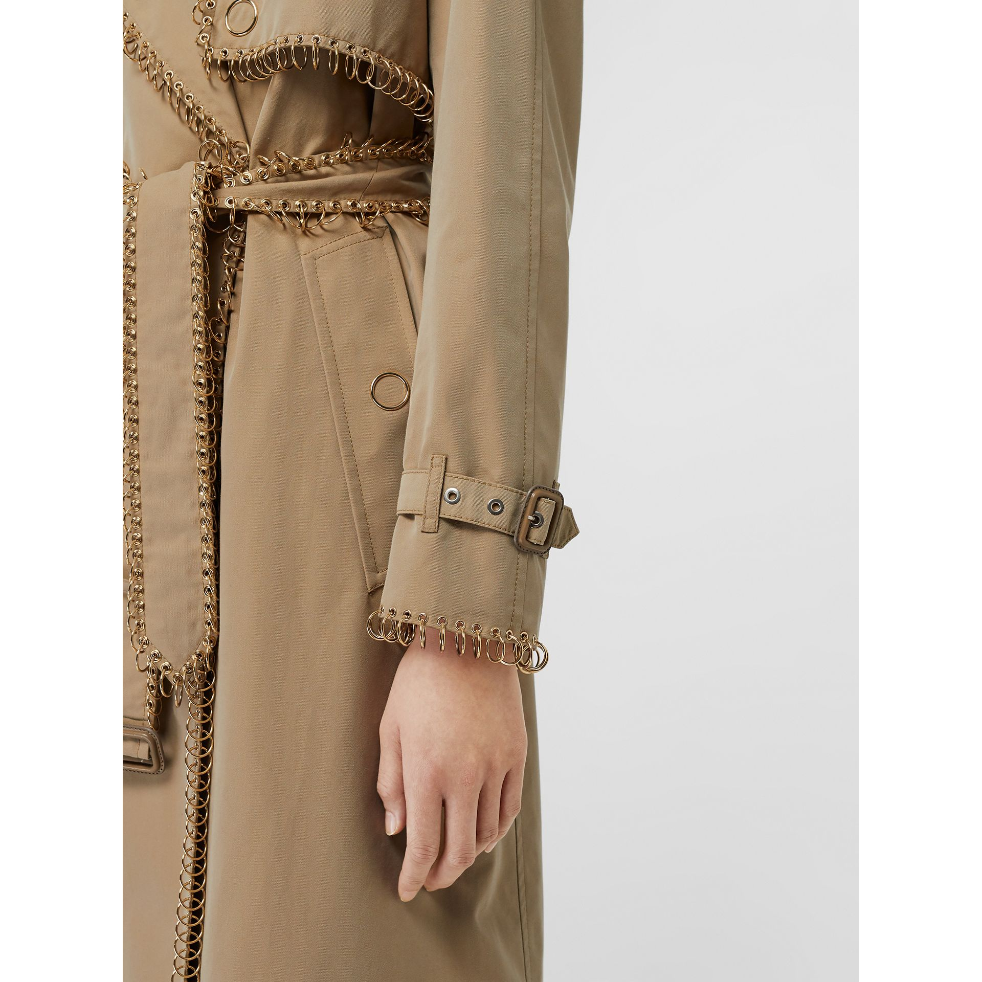 Ring-pierced Cotton Gabardine Trench Coat in Pale Honey - Women | Burberry - gallery image 4