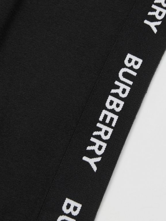 Logo Detail Stretch Cotton Jersey Leggings in Black - Children | Burberry - cell image 1