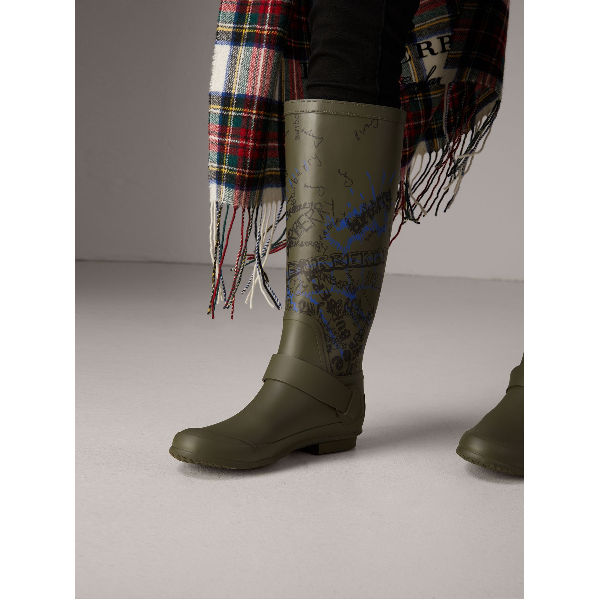 Doodle Print Rubber Rain Boots in Military Green - Women | Burberry Singapore - gallery image 2