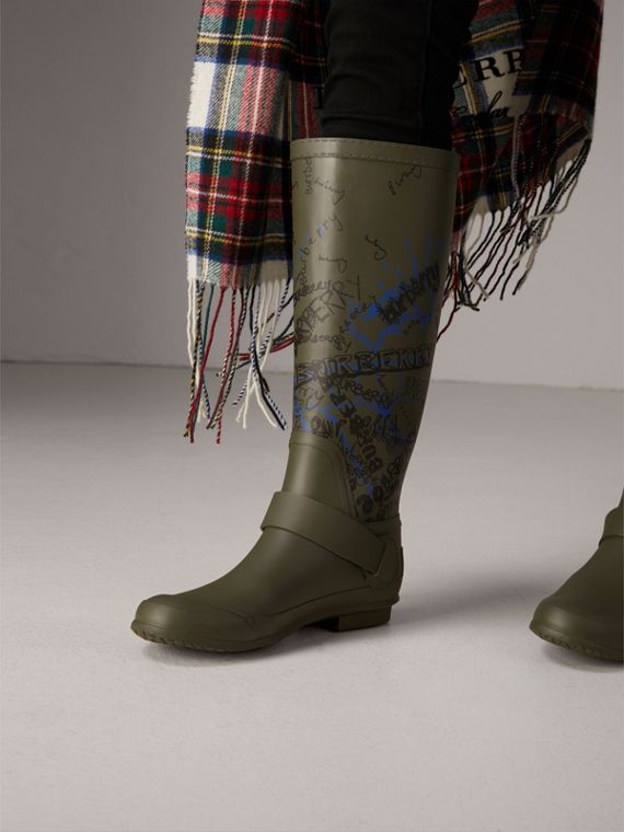 Doodle Print Rubber Rain Boots in Military Green - Women | Burberry Australia - cell image 2
