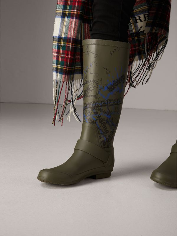 Doodle Print Rubber Rain Boots in Military Green - Women | Burberry - cell image 2