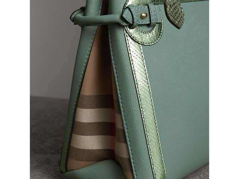 The Medium Banner in Leather with Metallic Python Appliqué in Celadon Blue - Women | Burberry - cell image 1
