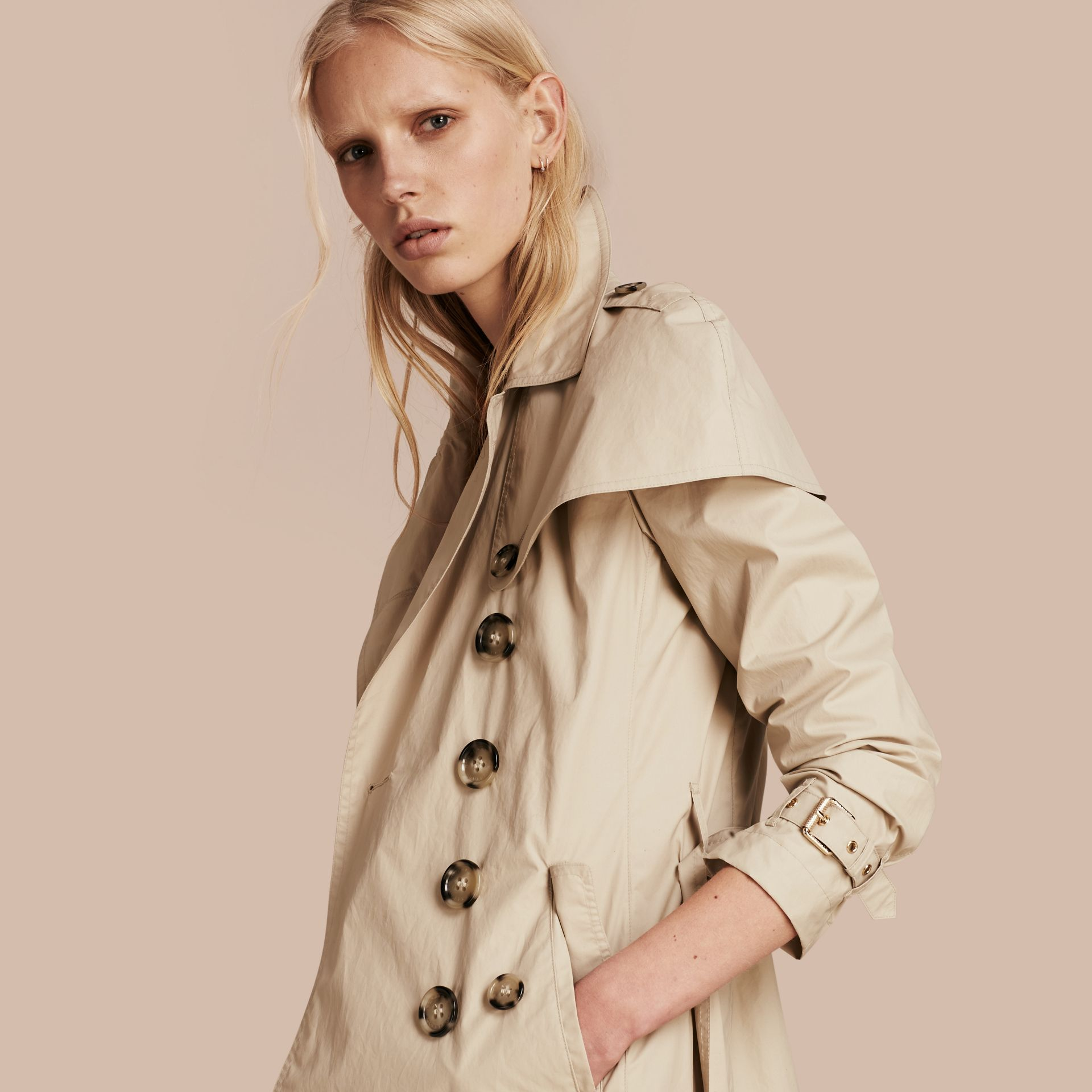 Stone Lightweight Cape Detail Cotton Trench Coat - gallery image 1