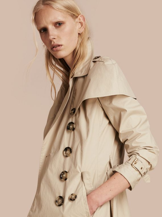 Lightweight Cape Detail Cotton Trench Coat Stone