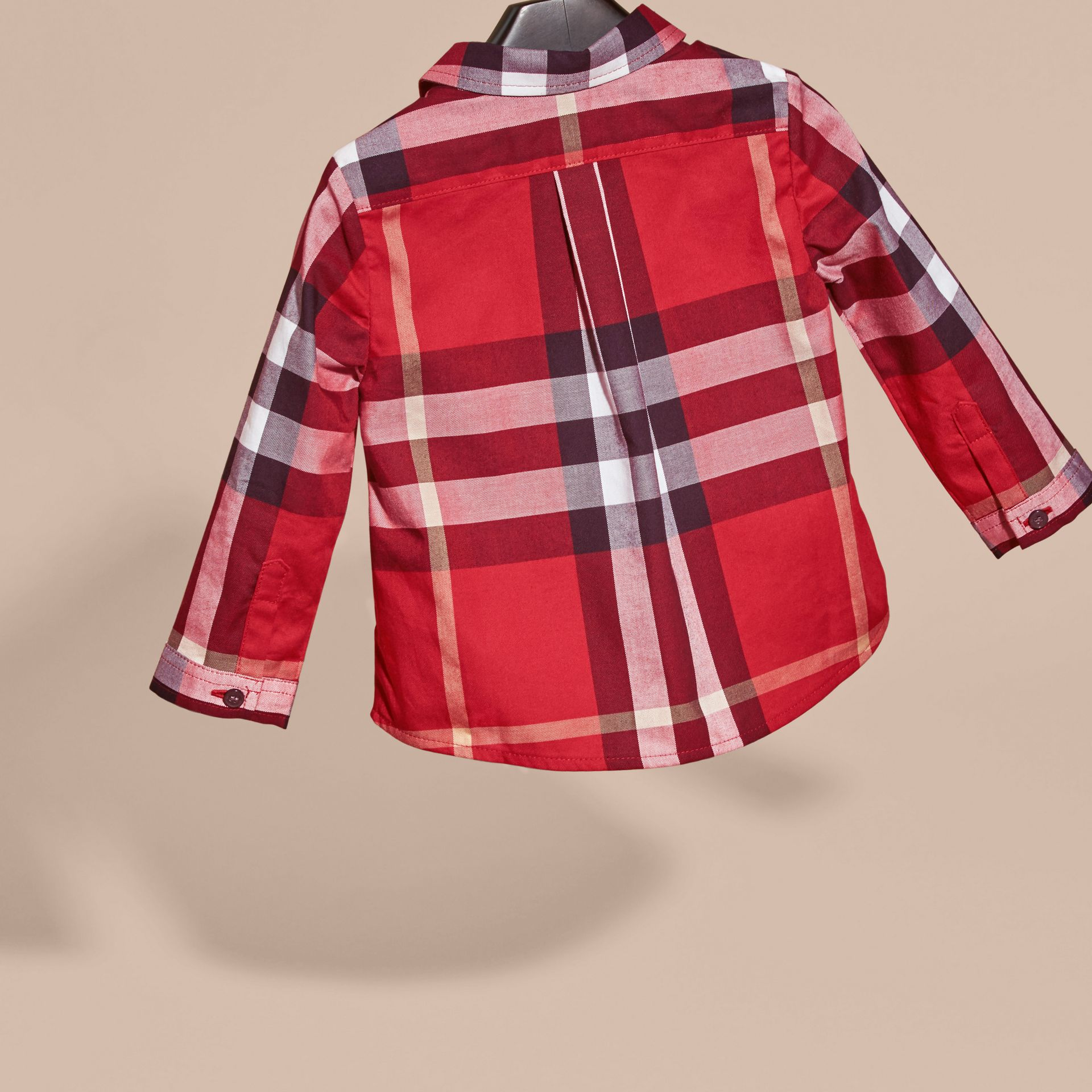 Check Cotton Shirt in Parade Red | Burberry - gallery image 4