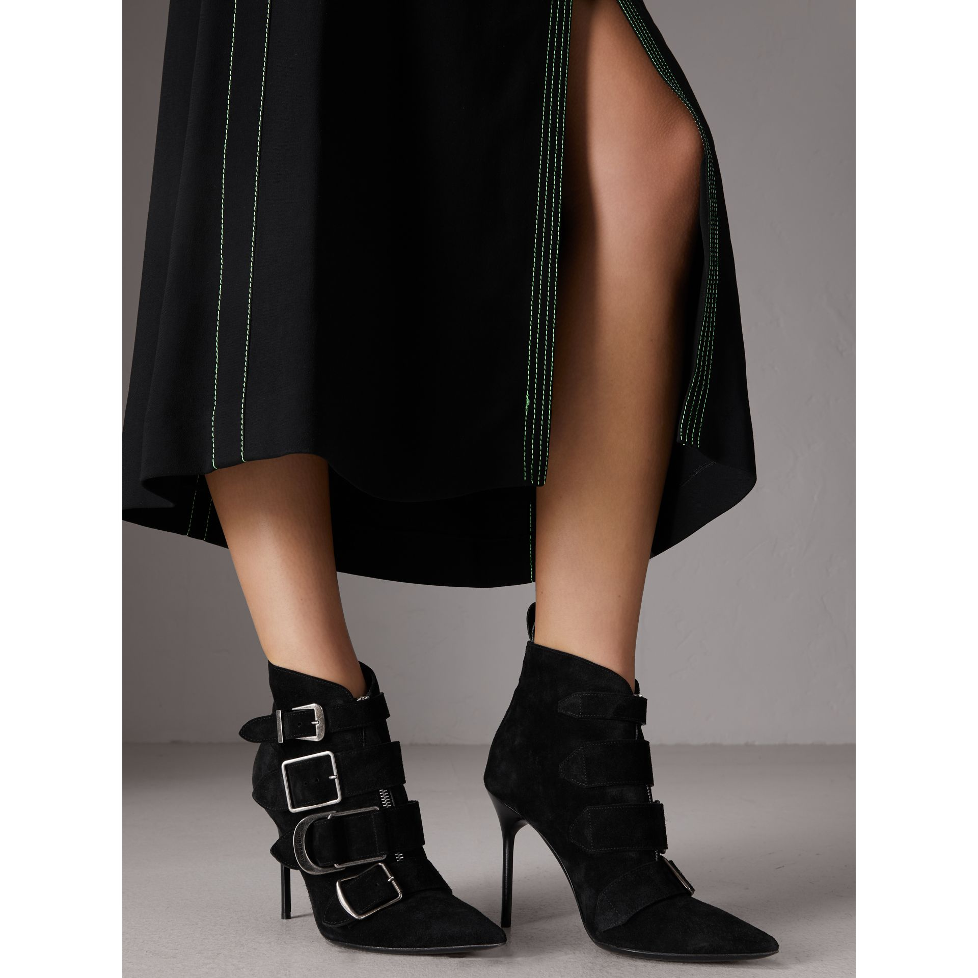 Buckle Detail Suede Ankle Boots in Black - Women | Burberry - gallery image 3