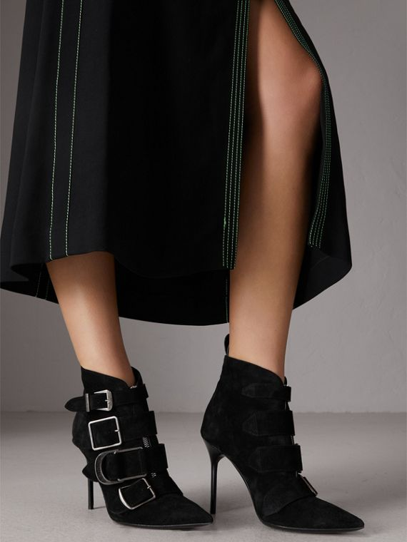 Buckle Detail Suede Ankle Boots in Black - Women | Burberry - cell image 3