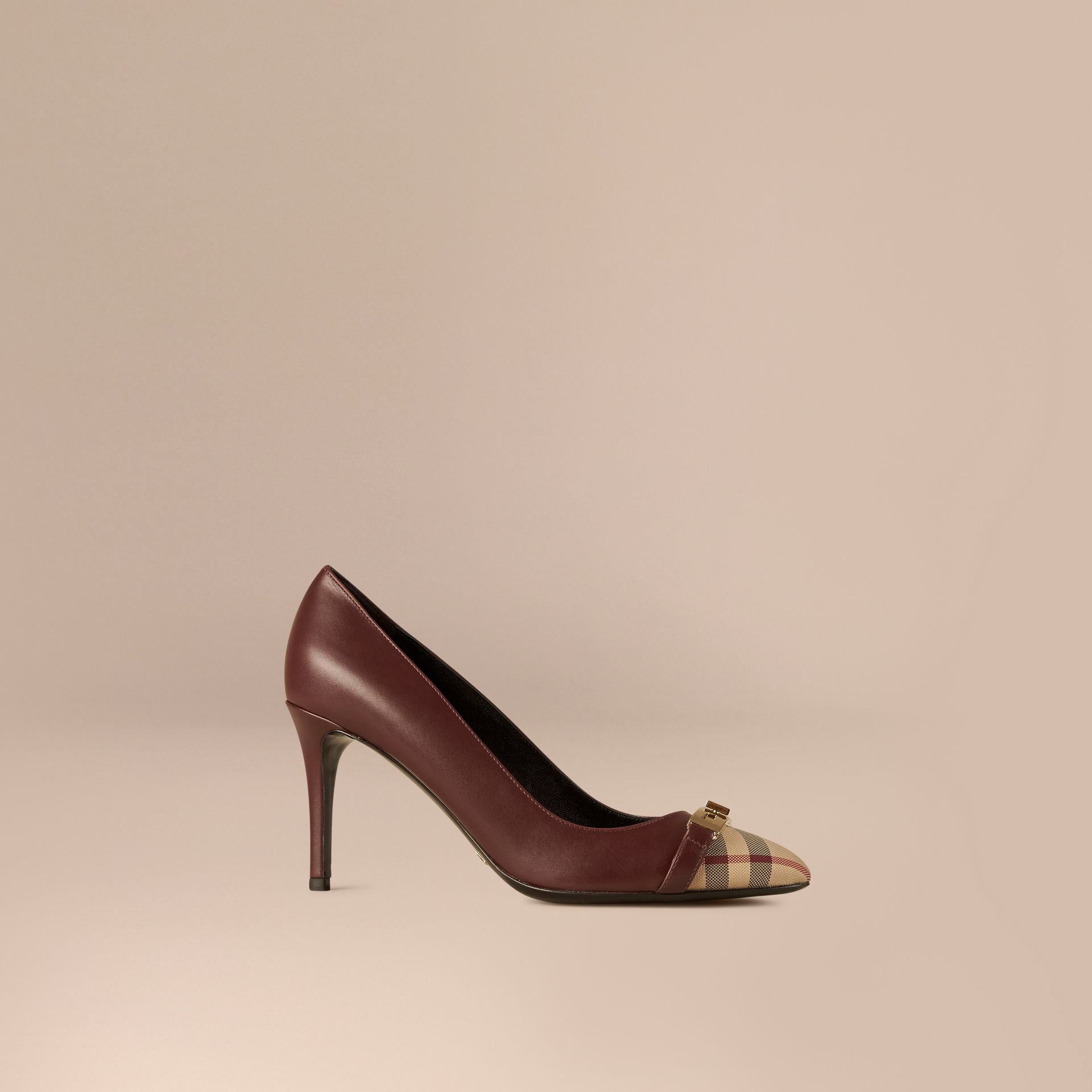 Oxblood Horseferry Check Leather Pumps Oxblood - gallery image 1