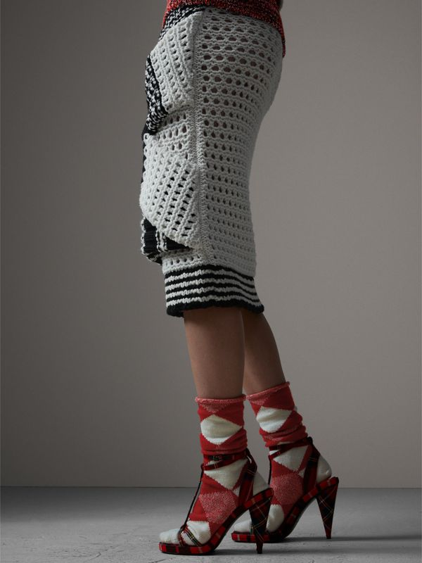 Knitted Wool Cross-panel Skirt in White/black - Women | Burberry - cell image 2