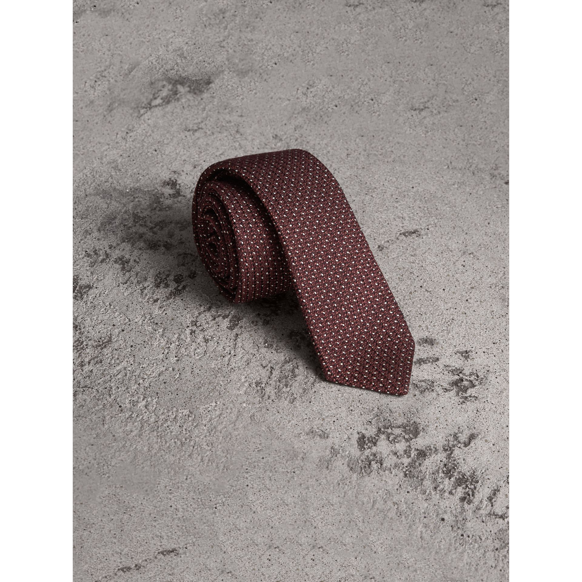 Slim Cut Pinpoint Wool Silk Tie in Cinnamon - Men | Burberry Singapore - gallery image 1