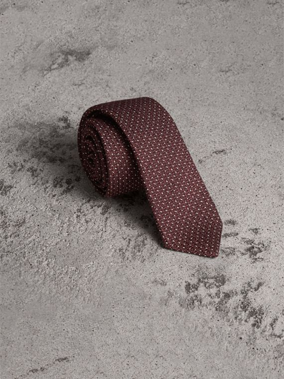 Slim Cut Pinpoint Wool Silk Tie in Cinnamon