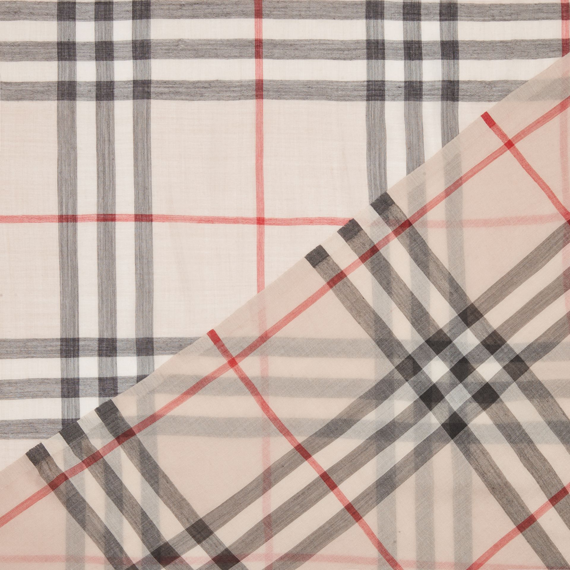 Lightweight Check Wool and Silk Scarf in Stone | Burberry United Kingdom - gallery image 1
