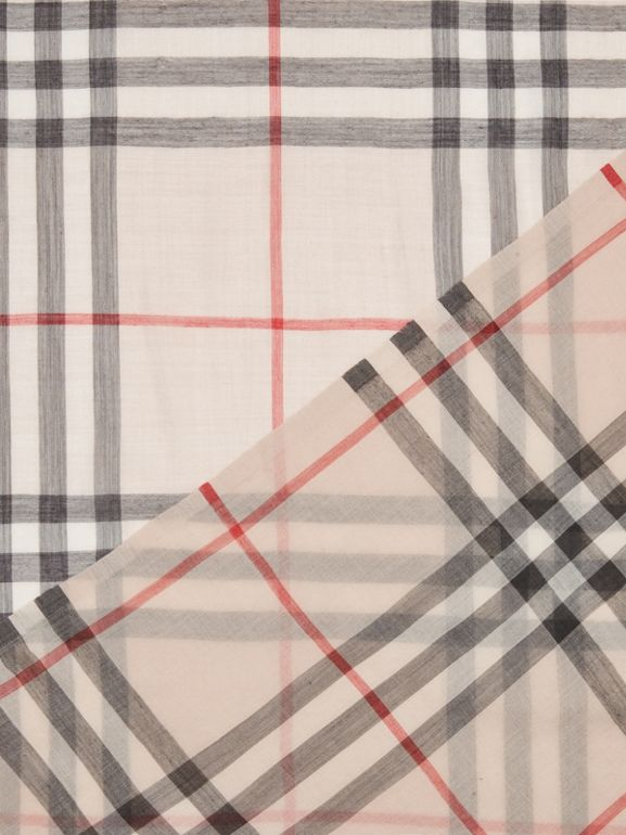 Lightweight Check Wool and Silk Scarf in Stone | Burberry United Kingdom - cell image 1