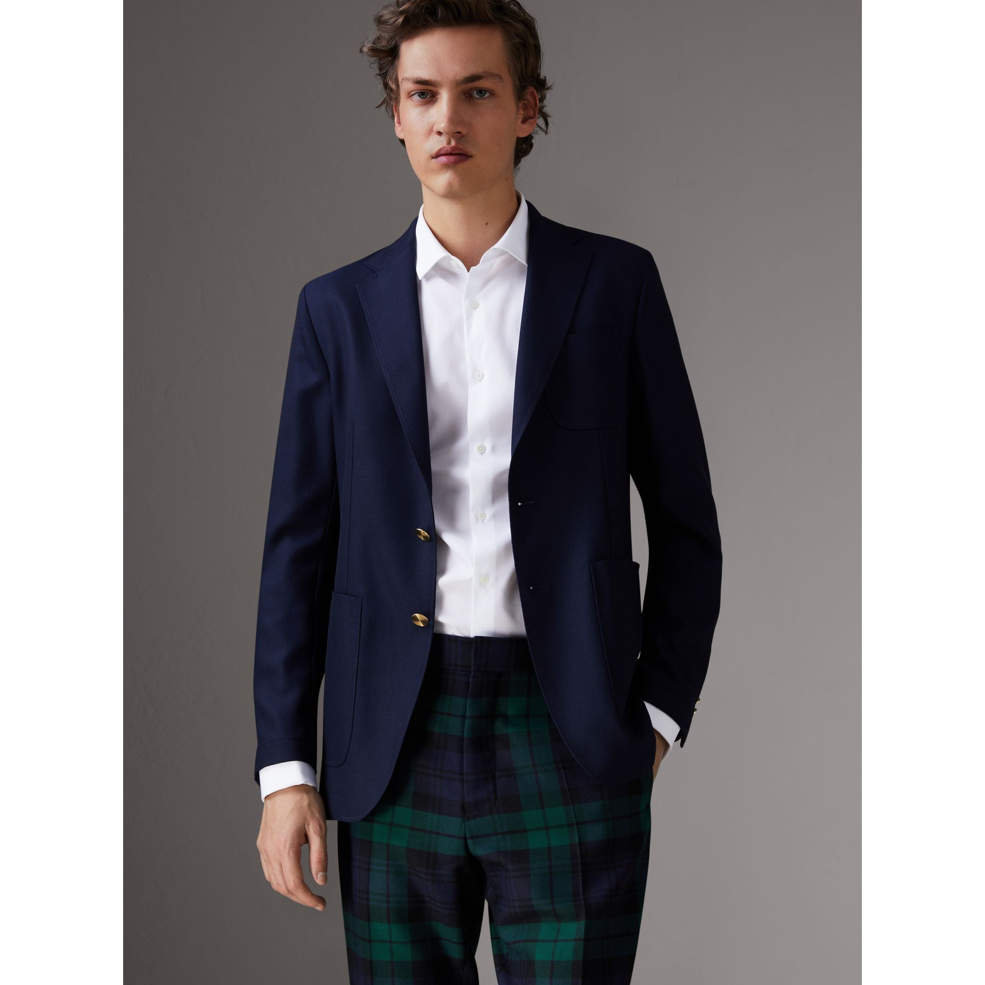 Slim Fit Wool Hopsack Tailored Jacket in Navy - Men | Burberry - gallery image 0