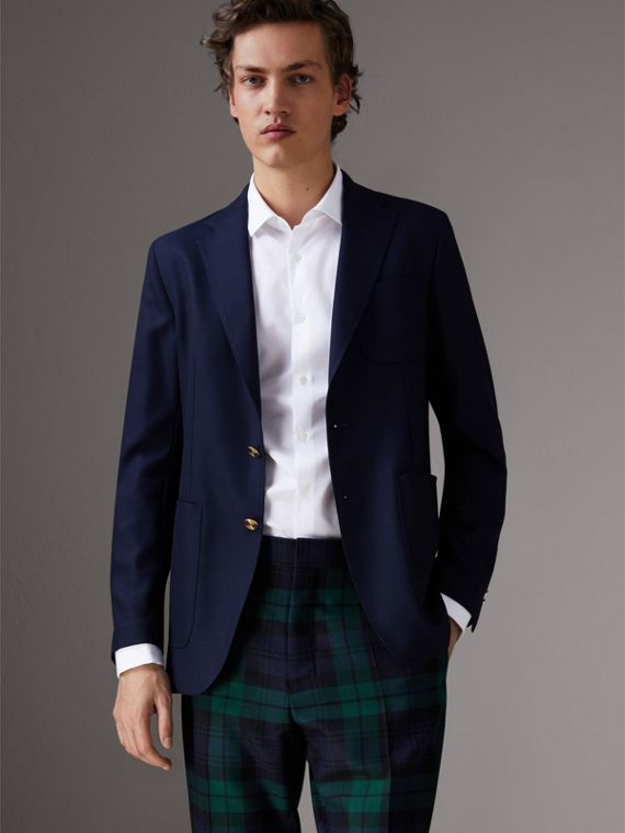 Slim Fit Wool Hopsack Tailored Jacket in Navy