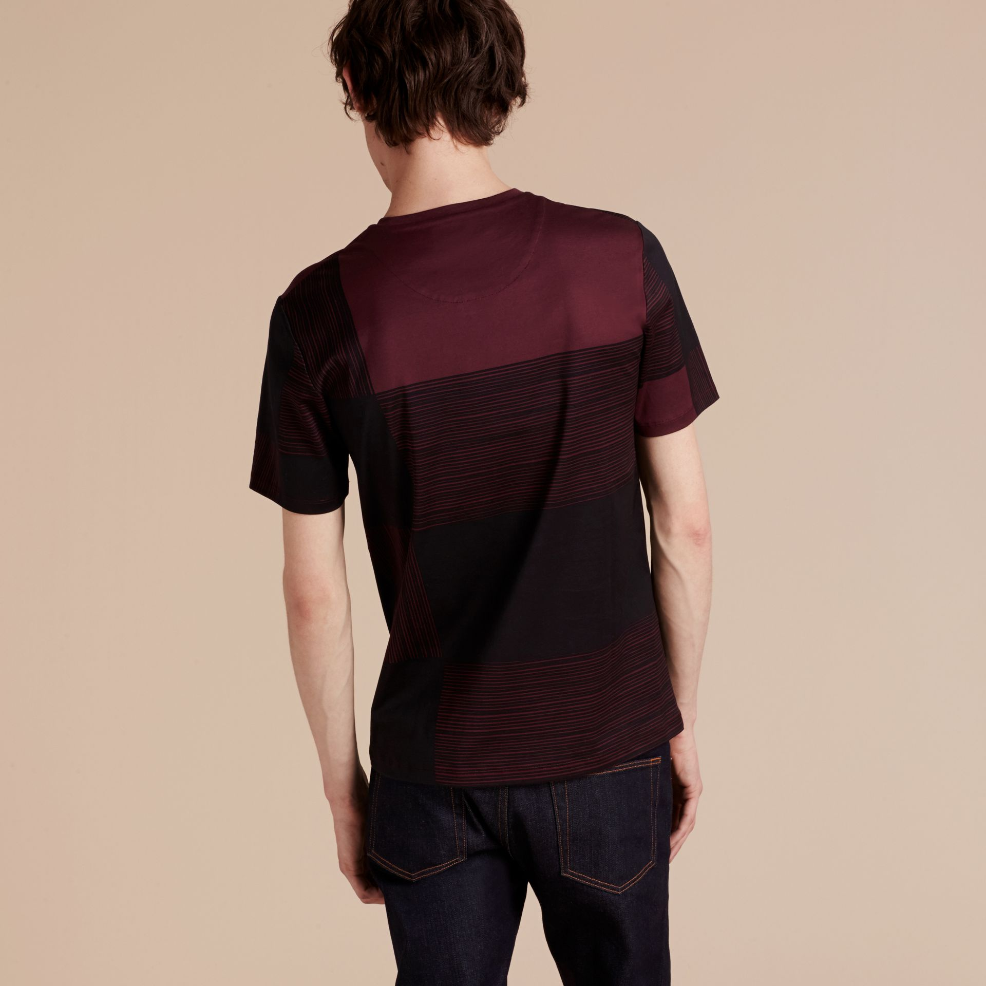 Burgundy Check Print Cotton T-shirt Burgundy - gallery image 3