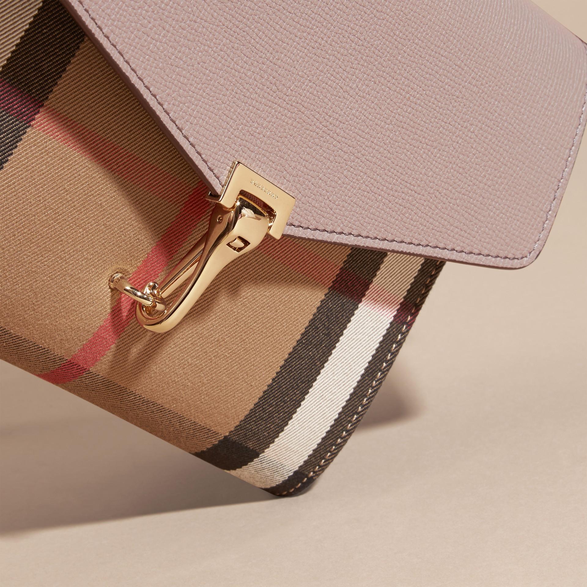 Gris chardon Petit sac à bandoulière en cuir et coton House check Gris Chardon - photo de la galerie 2