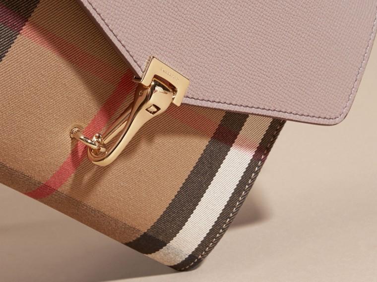 Gris chardon Petit sac à bandoulière en cuir et coton House check Gris Chardon - cell image 1