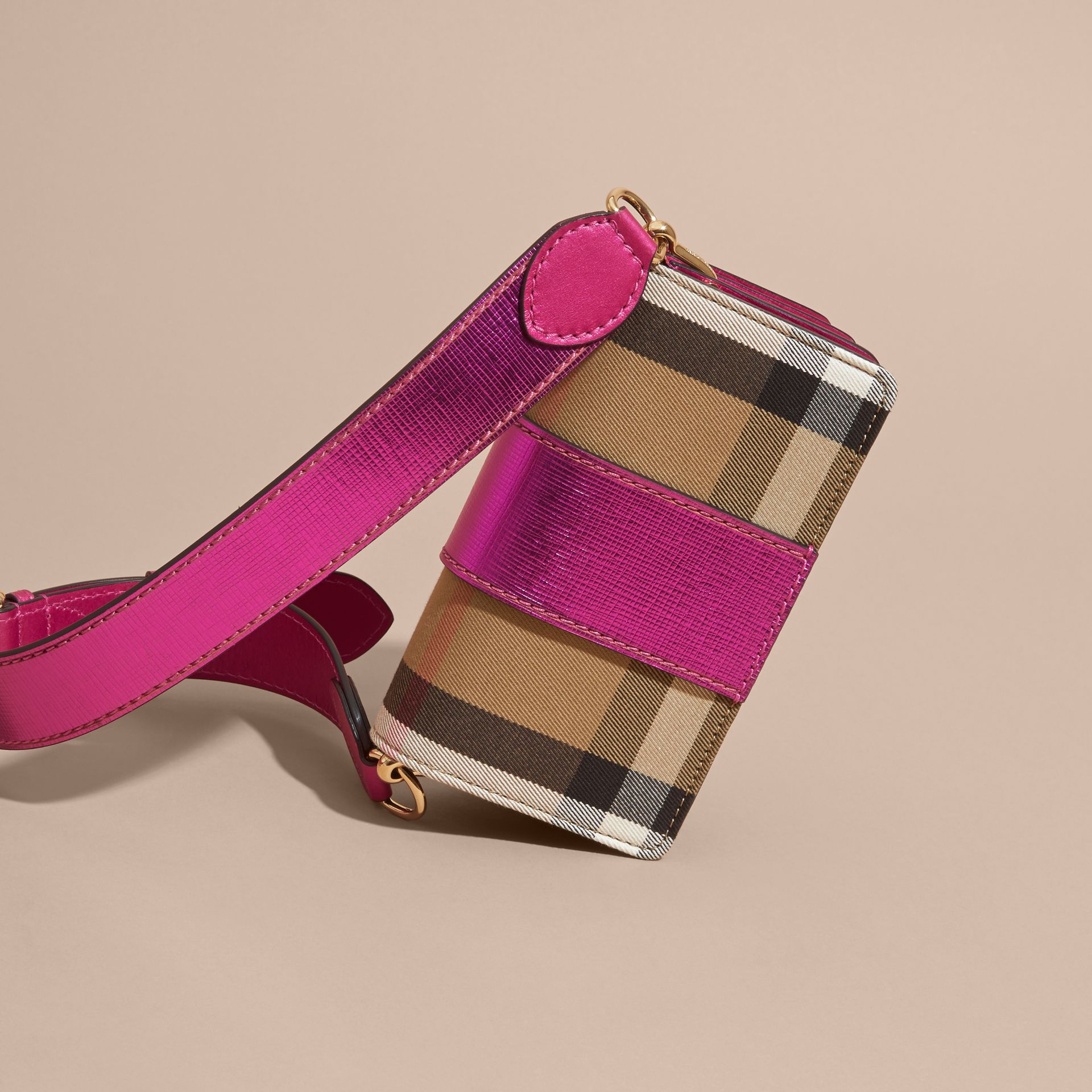 The Small Buckle Bag in House Check and Leather in Bright Pink - gallery image 5