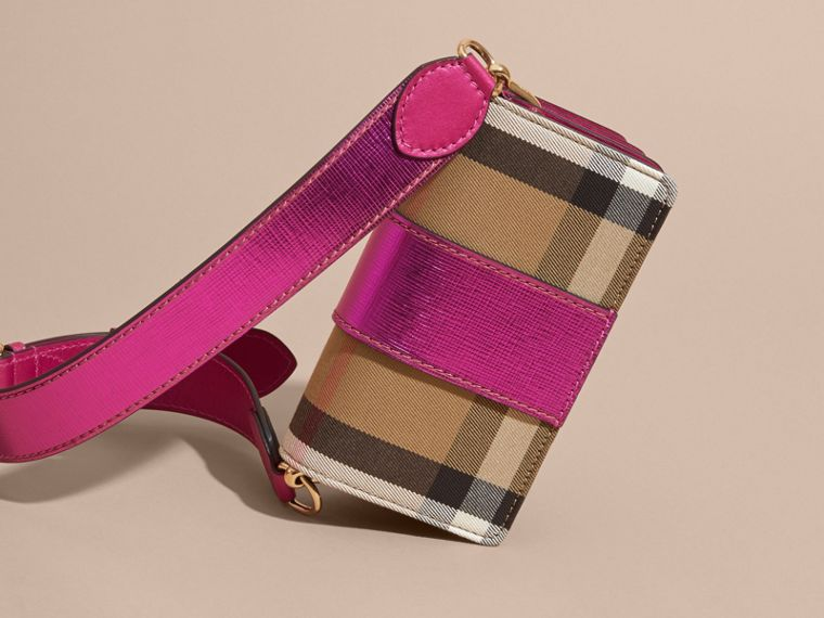 The Small Buckle Bag in House Check and Leather in Bright Pink - cell image 4