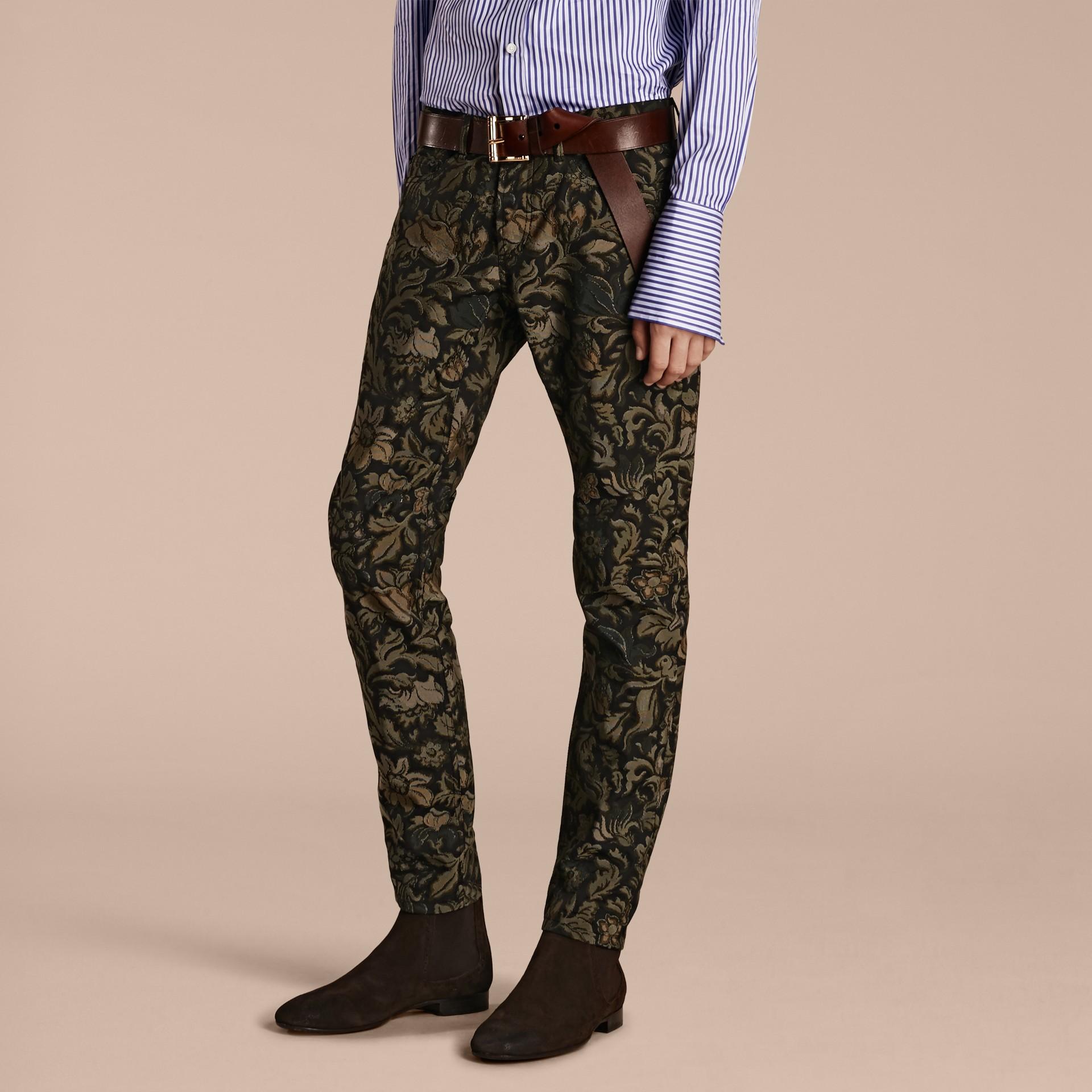 Sage Slim Fit Floral Jacquard Jeans Sage - gallery image 1