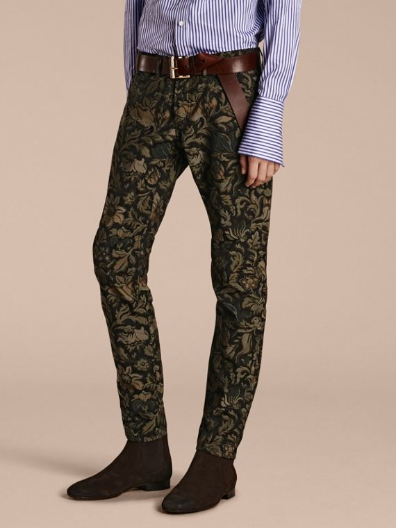 Slim Fit Floral Jacquard Jeans Sage
