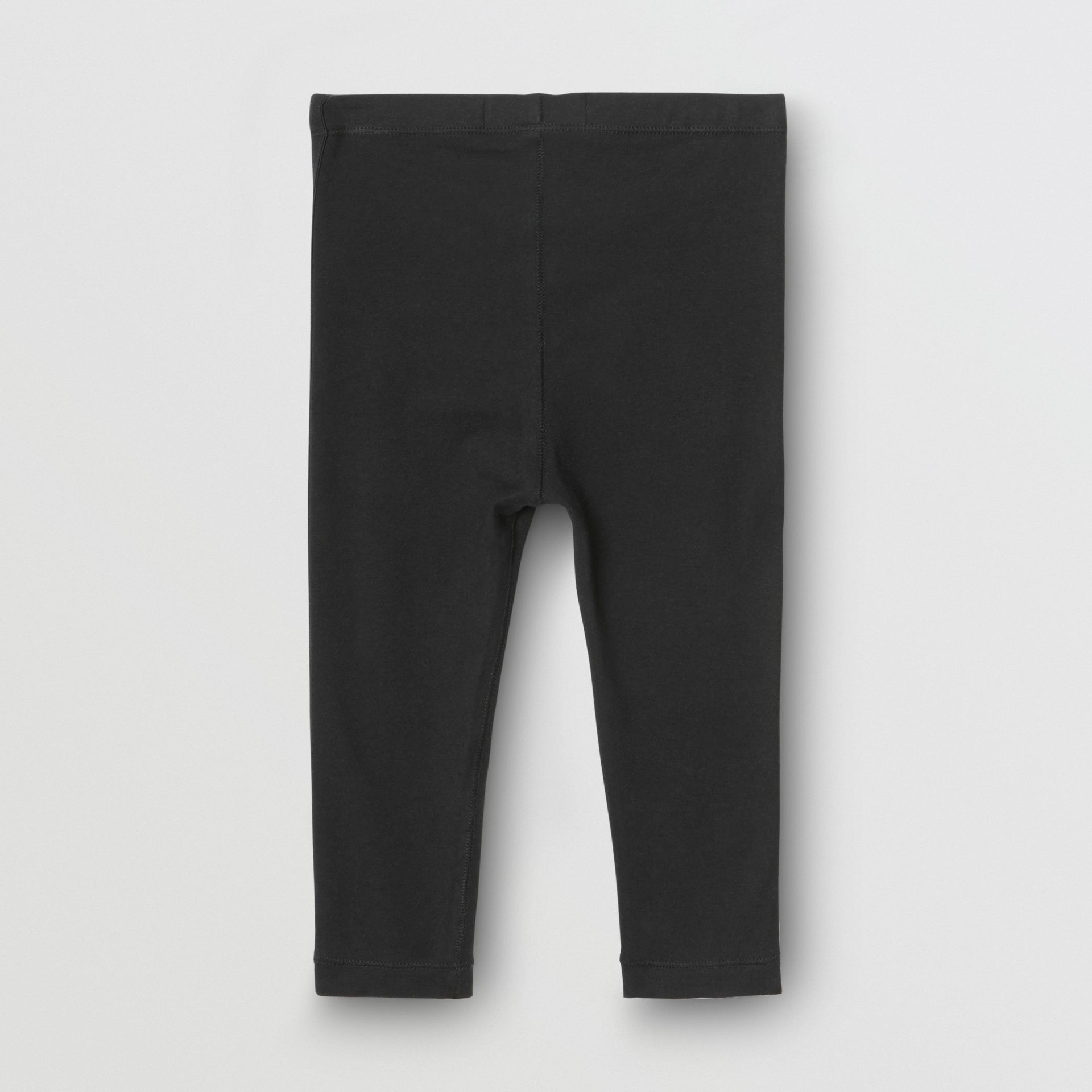 Logo Detail Stretch Cotton Jersey Leggings in Black - Children | Burberry Singapore - gallery image 3