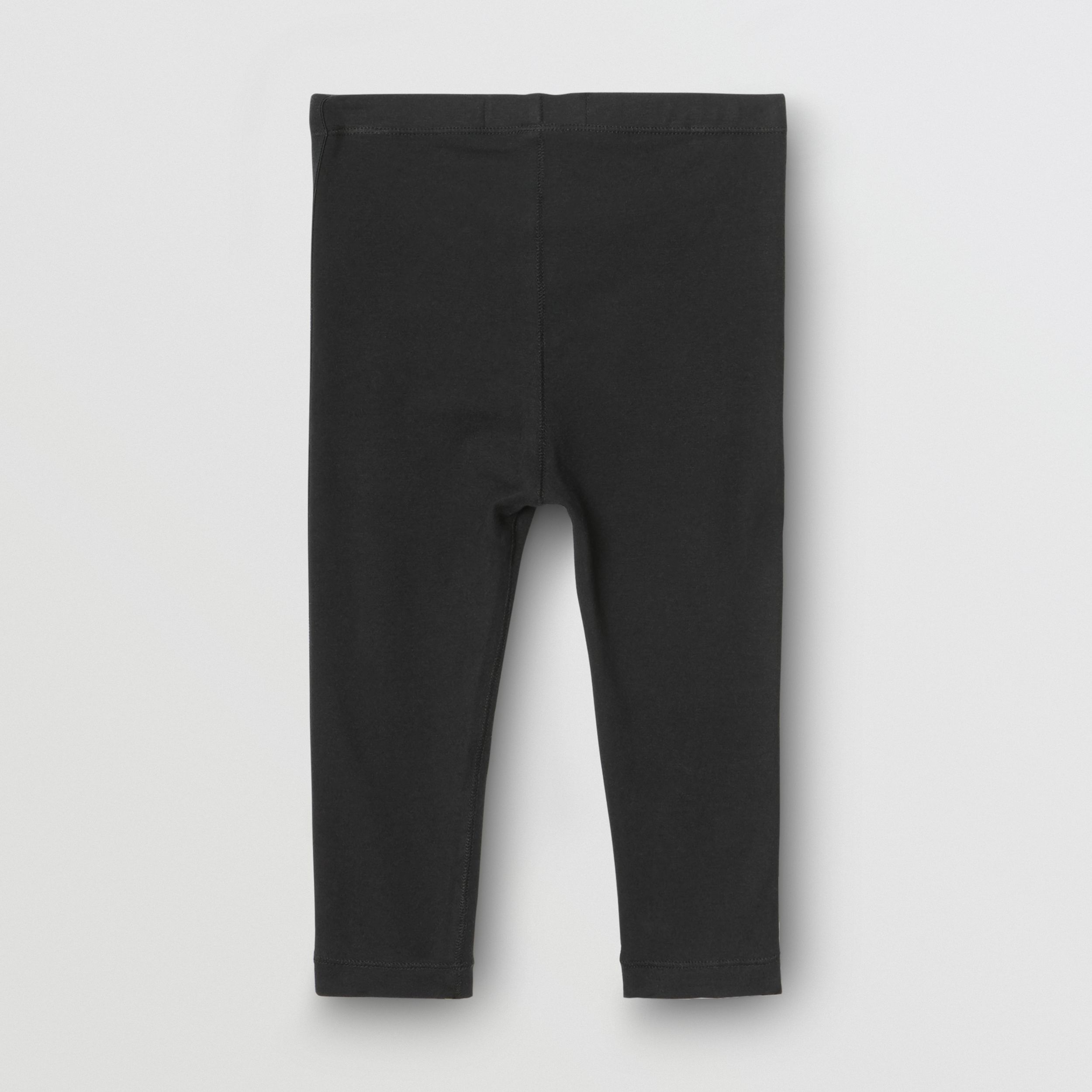 Logo Detail Stretch Cotton Jersey Leggings in Black - Children | Burberry - 4