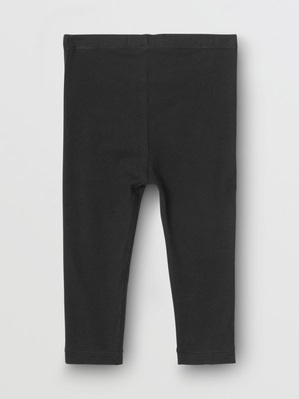 Logo Detail Stretch Cotton Jersey Leggings in Black - Children | Burberry - cell image 3