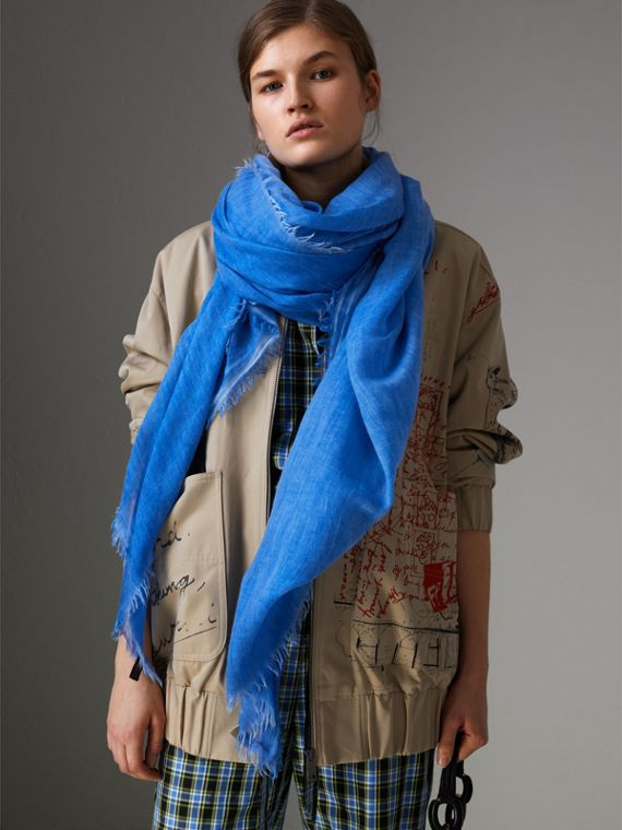 Embroidered Cashmere Cotton Scarf in Azure Blue