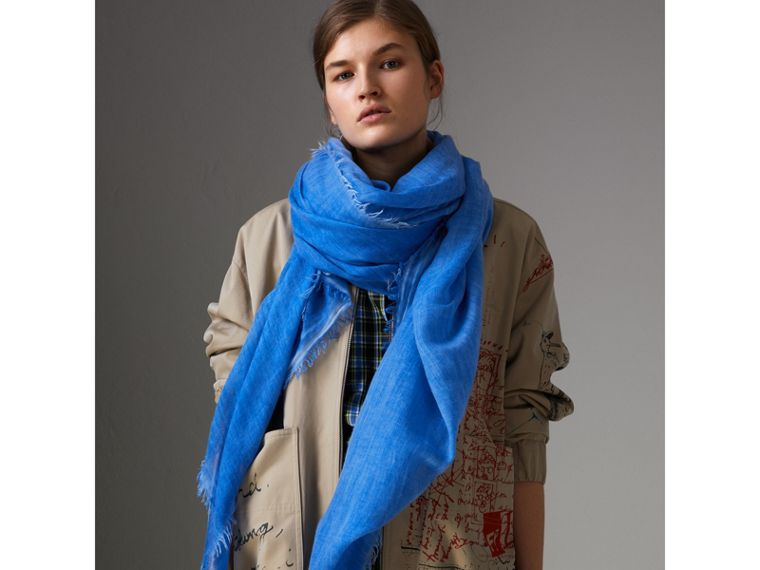 Embroidered Cashmere Cotton Scarf in Azure Blue | Burberry United Kingdom - cell image 4