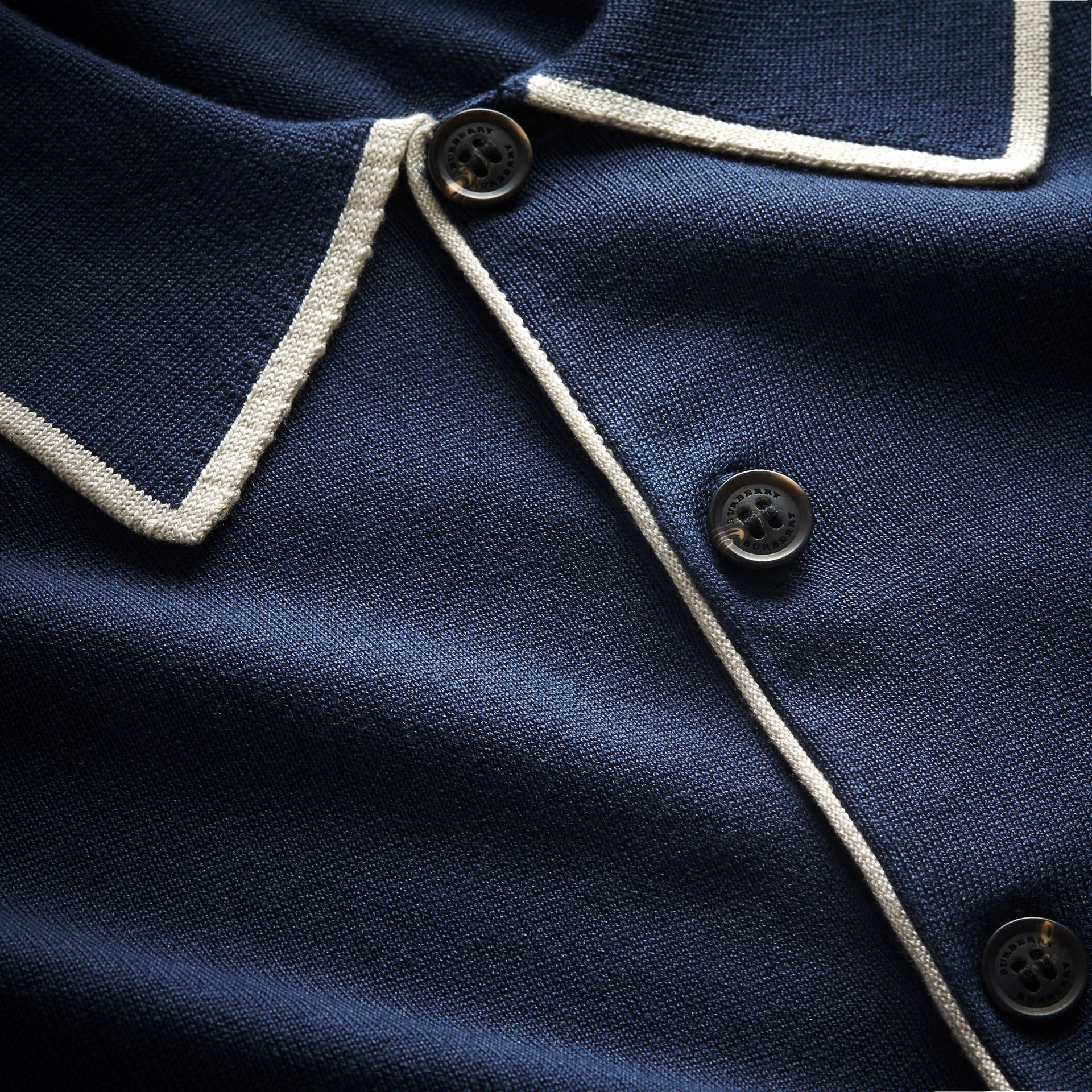 Tipped Detail Knitted Silk Polo Shirt - gallery image 2