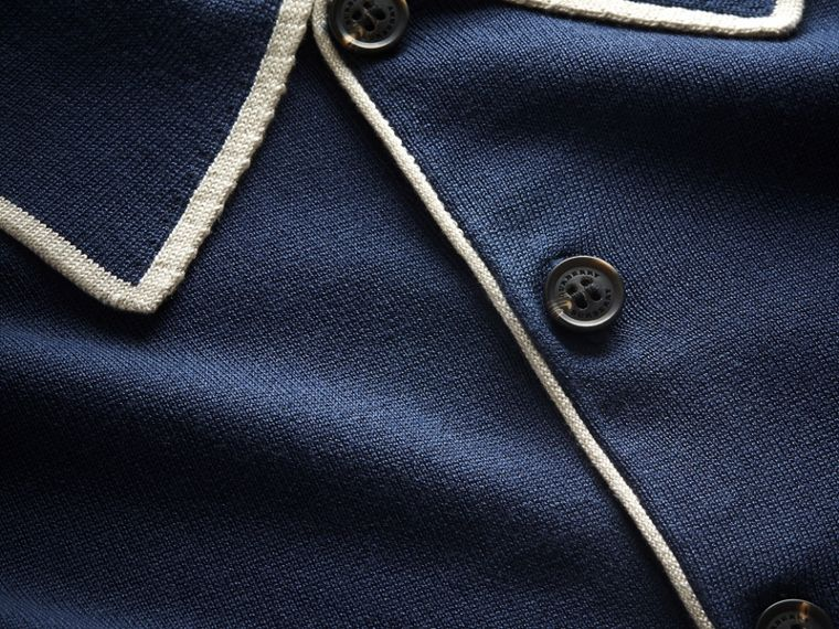 Tipped Detail Knitted Silk Polo Shirt - cell image 1