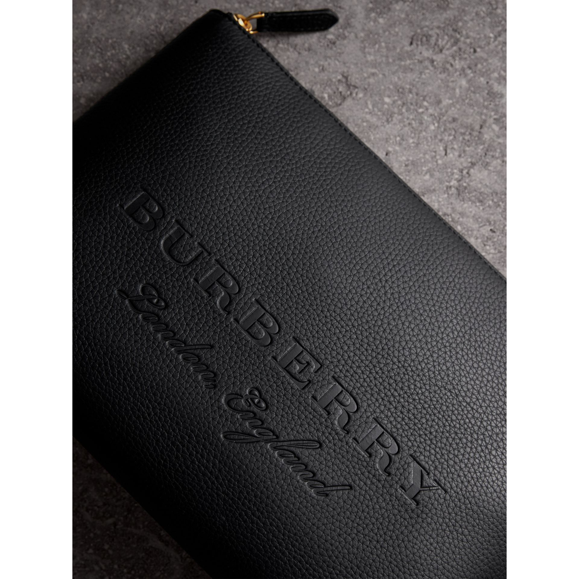 Large Embossed Leather Zip Pouch in Black | Burberry Australia - gallery image 1