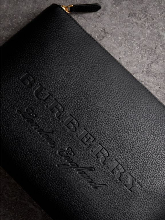 Large Embossed Leather Zip Pouch in Black | Burberry Australia - cell image 1