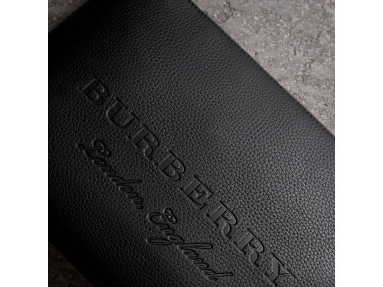Large Embossed Leather Zip Pouch in Black - Men | Burberry Australia - cell image 1